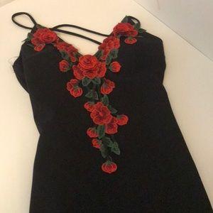 Black red rose dress
